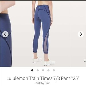 Lululemon Train Times Pant, Size 4, Gatsby Blue